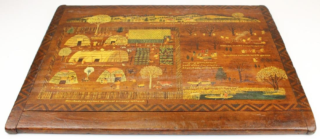 Davison M Welch folk art painted breadboard