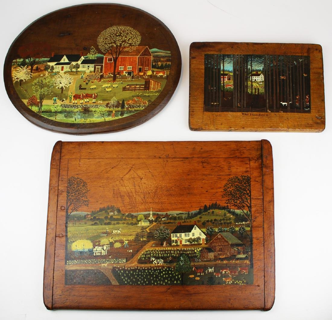 Davison M Welch folk art painted breadboards