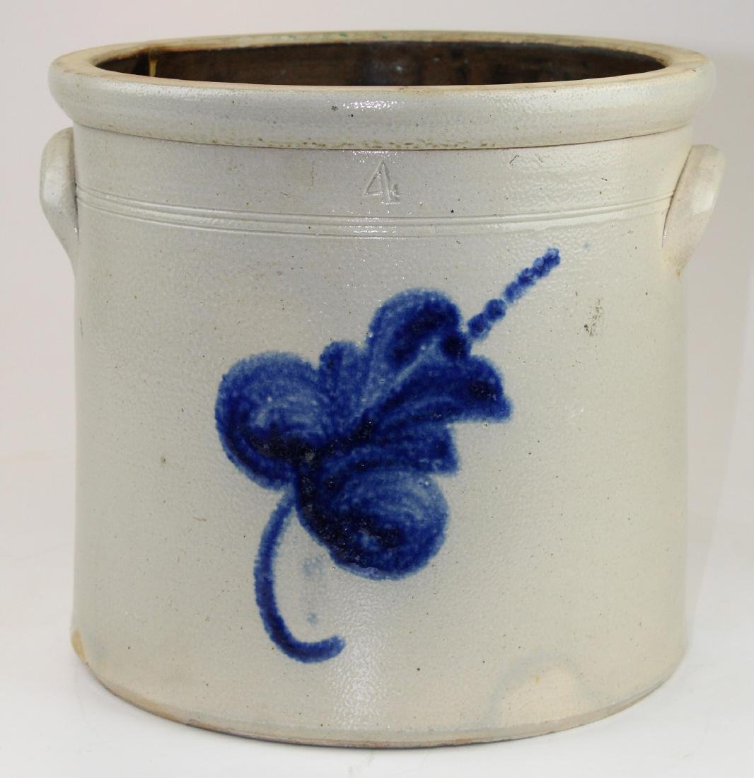 late 19th c blue decorated stoneware crock