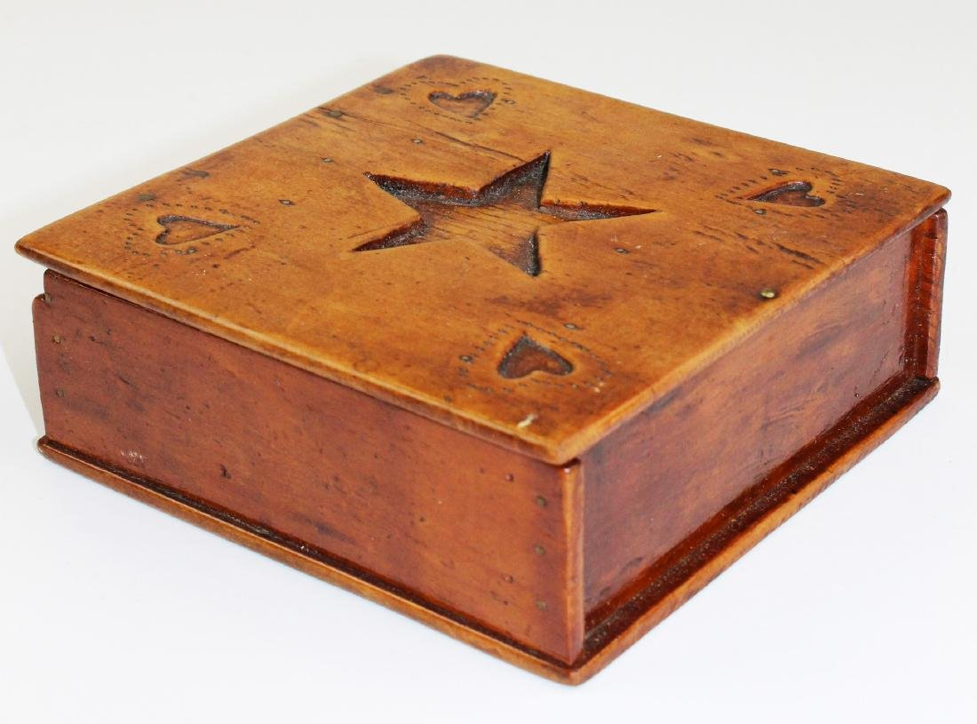 early 20th c star & heart carved wooden box