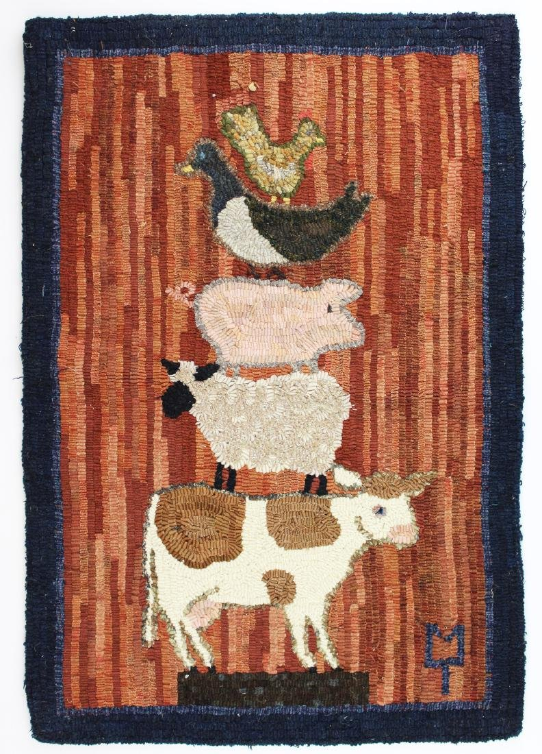 Peggy Teich signed hooked rug with animals