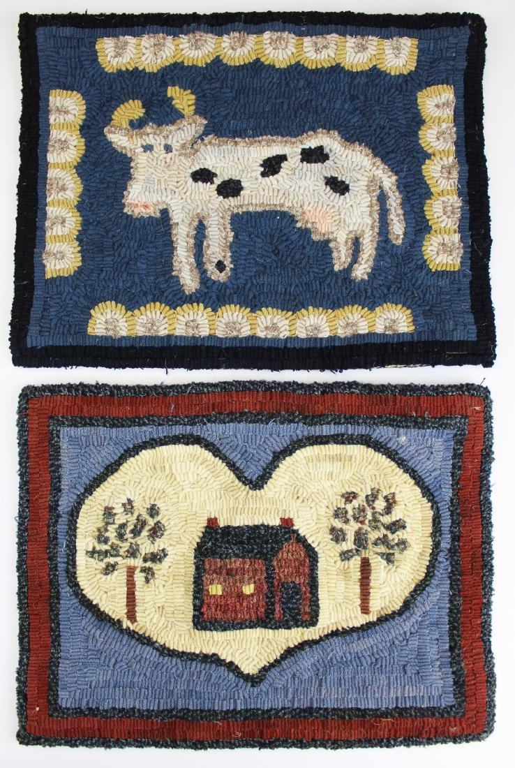 two small Peggy Teich signed hooked rugs