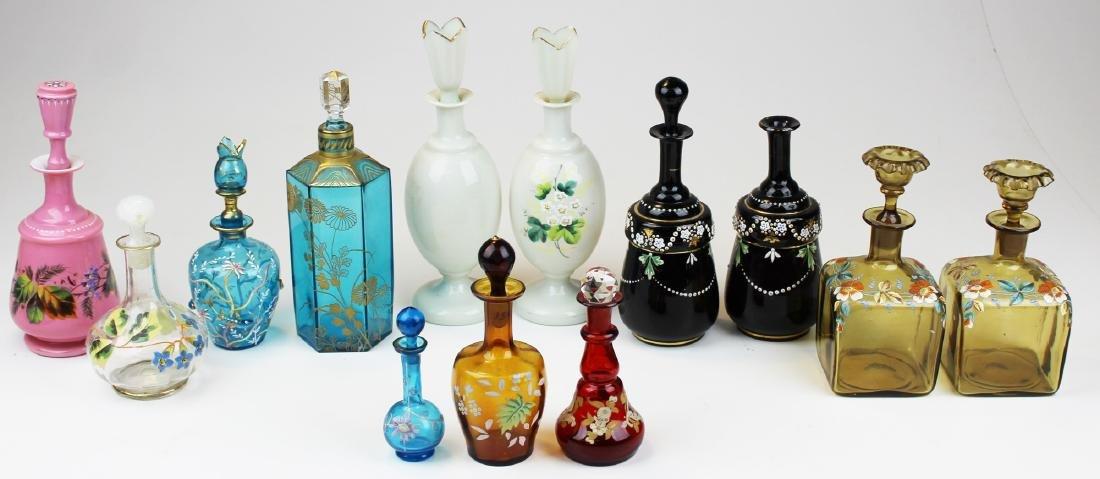 collection of Victorian art glass dresser bottles