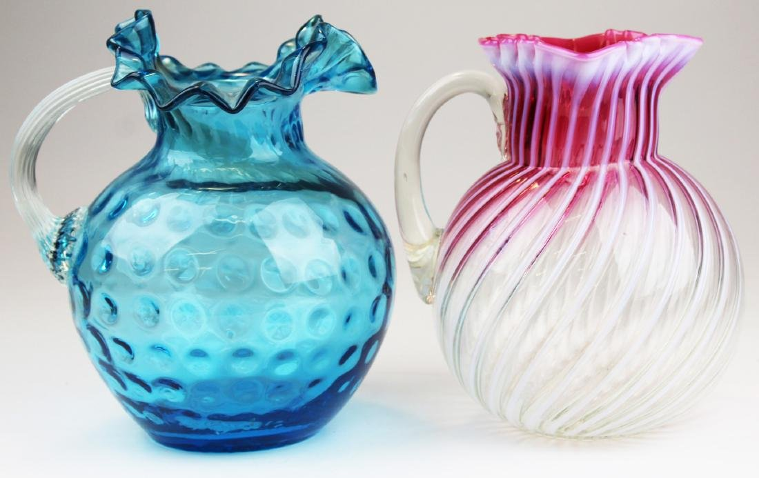 2 Victorian colored art glass lemonade pitchers