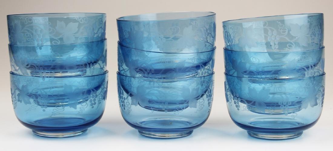 9 Victorian blue bohemian glass finger bowls