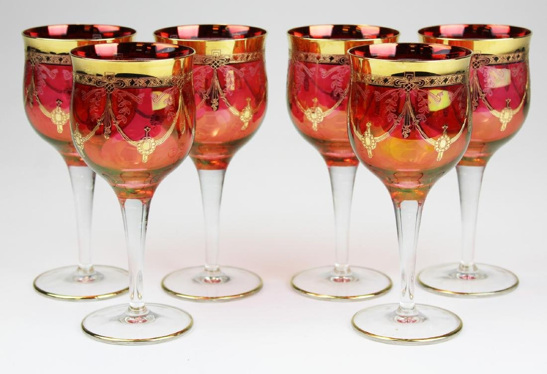 set of 6 gilt etched cranberry glass wine goblets