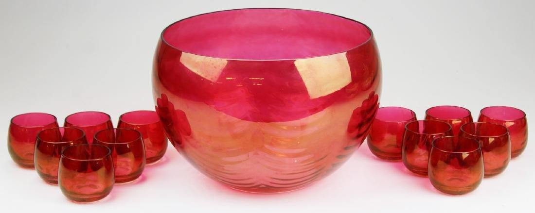 20th c. cranberry glass punch bowl with 12 cups
