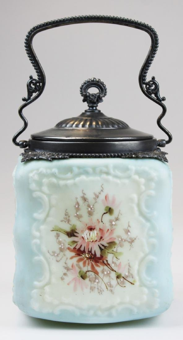 Wave Crest Victorian art glass biscuit jar