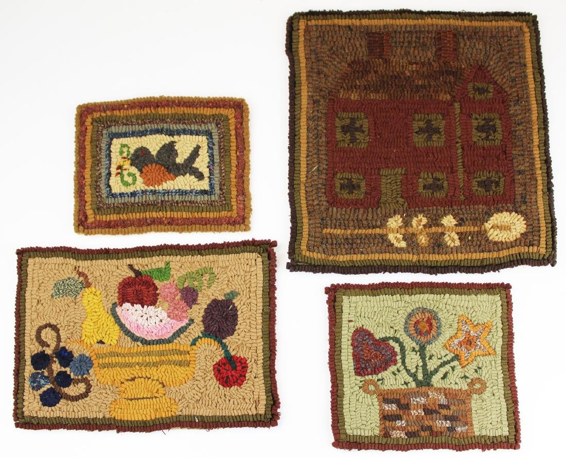 four small folky hooked rugs signed SCD