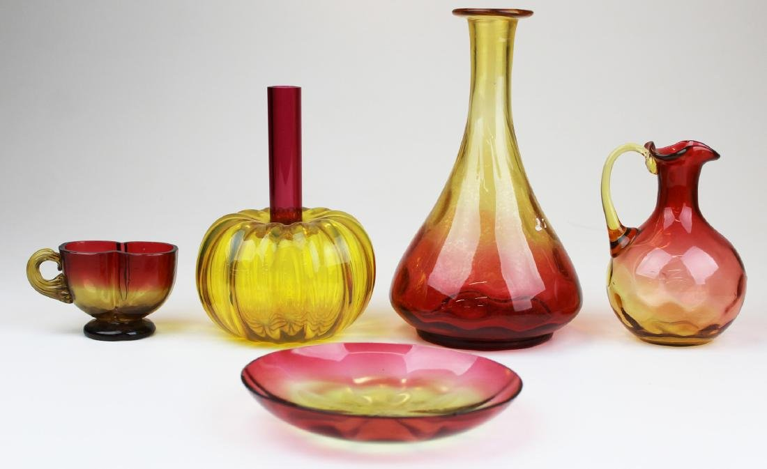 5 pieces amberina glassware