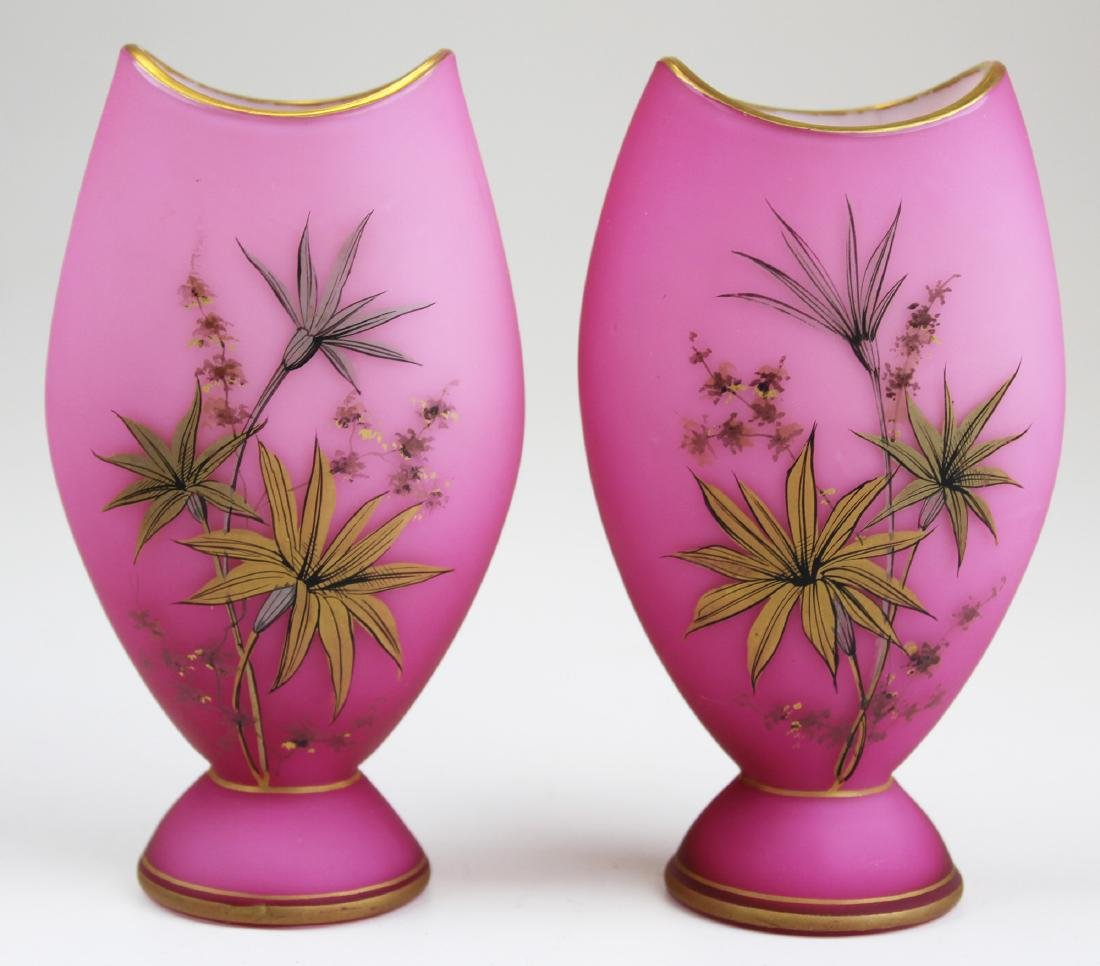 Pair cased cranberry gilt decorated vases