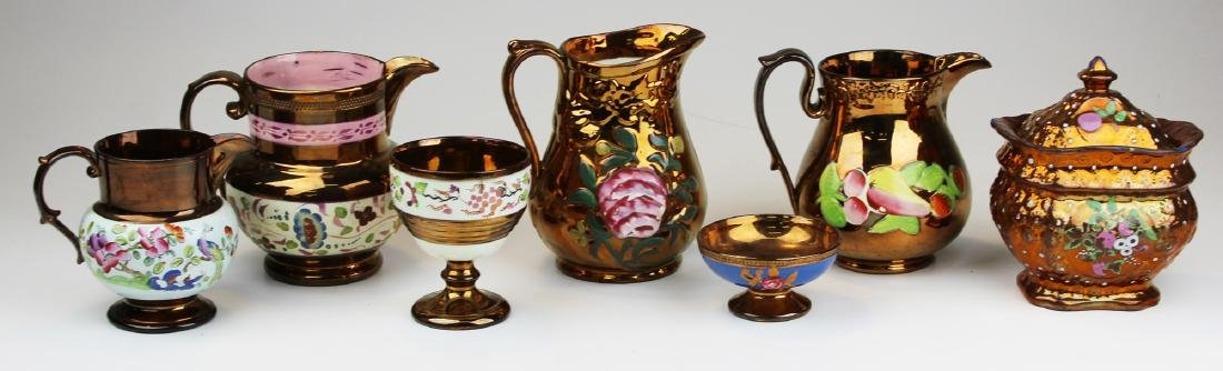 Group of 7 pieces fine early copper luster.