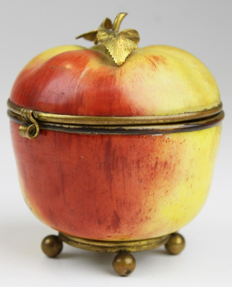 19th c Porcelain dresser box in form of an apple