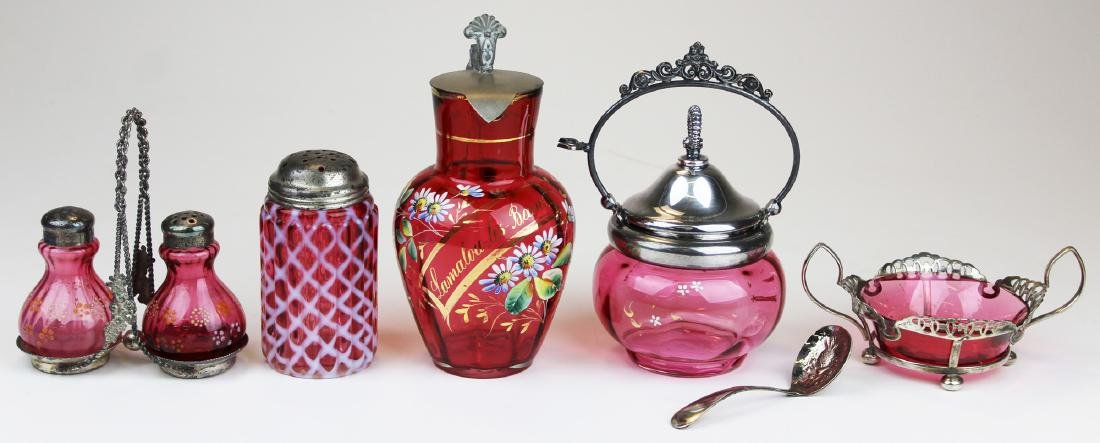 5 pieces of Victorian cranberry glass