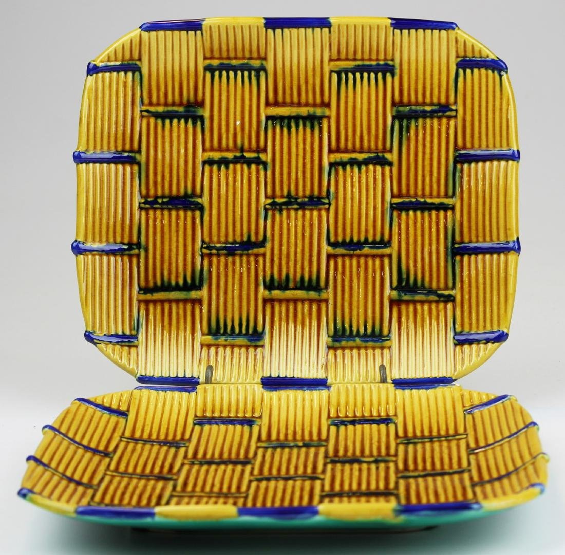 Pair of Majolica Minton rectangular platters