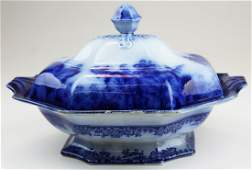 flow blue ironstone covered serving dish