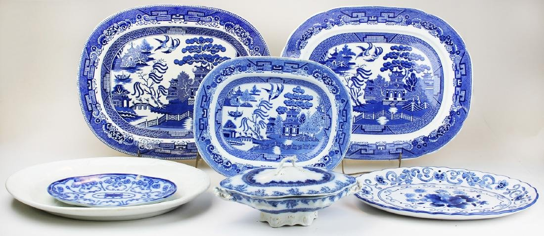 group of platters and serving dish blue willow