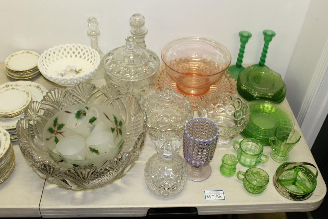 large lot of mixed pattern and depression glass