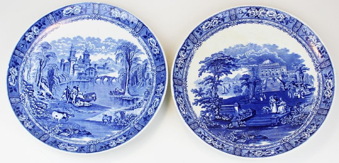 Pair of Cauldon blue transfer chargers