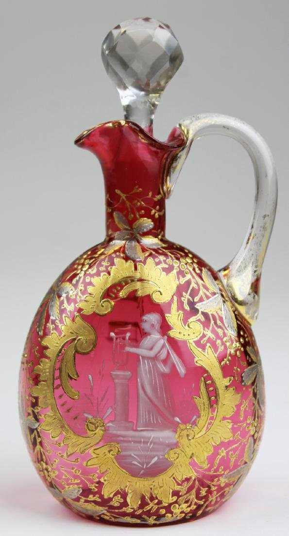 Victorian Mary Gregory cranberry gilt cruet