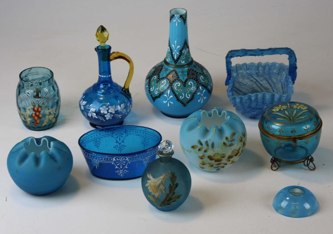 9 Victorian blue and satin glass