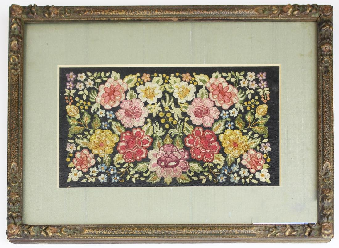 Chinese 18th c framed floral work panel