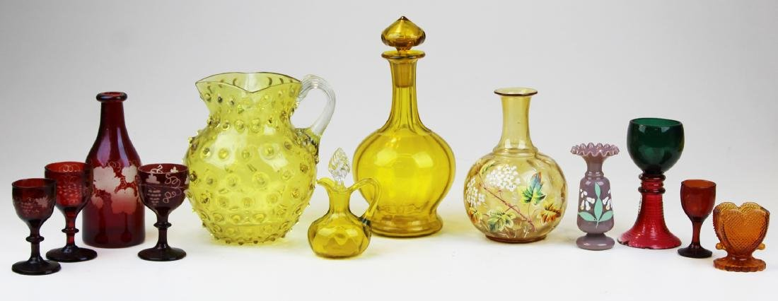 11 Pieces of 19th c Victorian glass