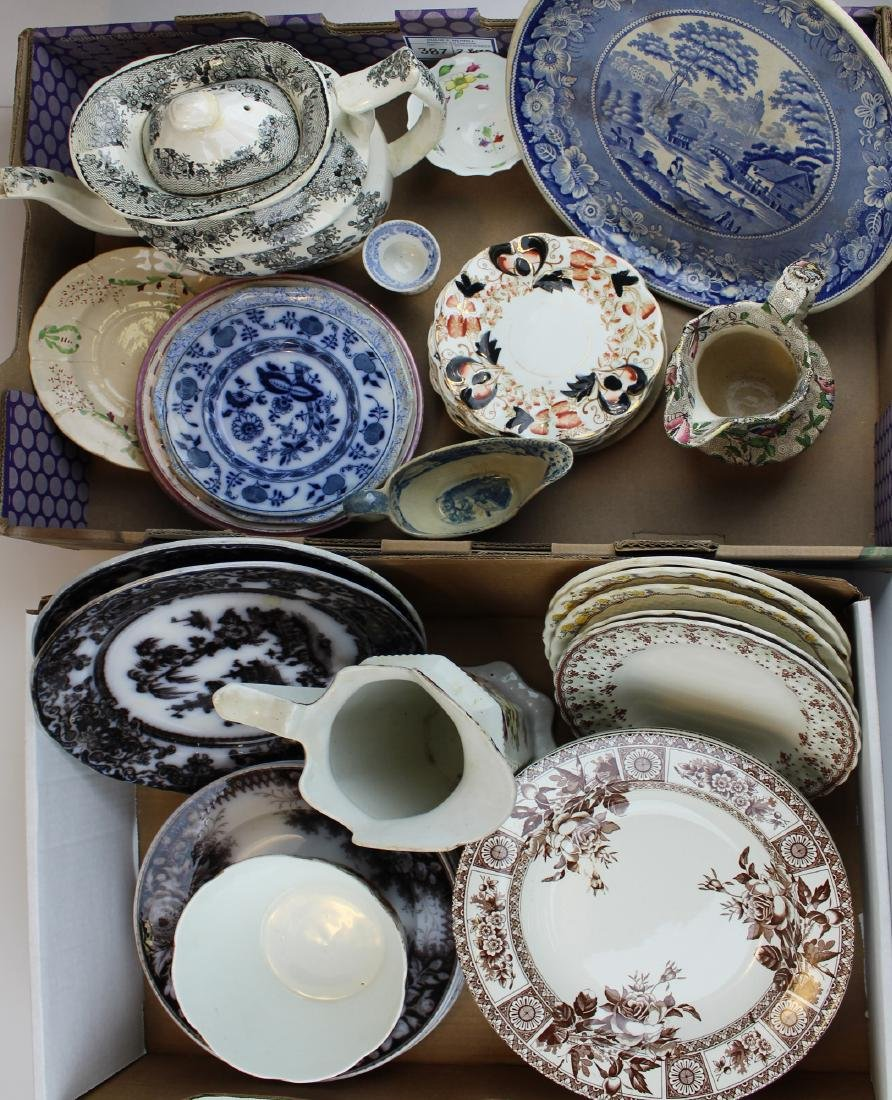 Large group of transfer decorated ironstone &