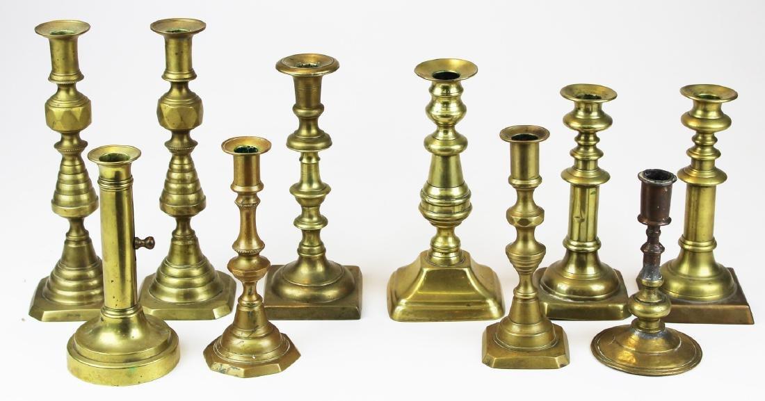 11 18th & 19th c brass candlesticks
