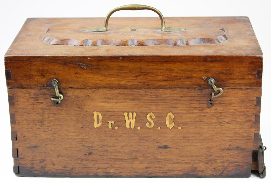 Victorian walnut inlaid doctor's box.