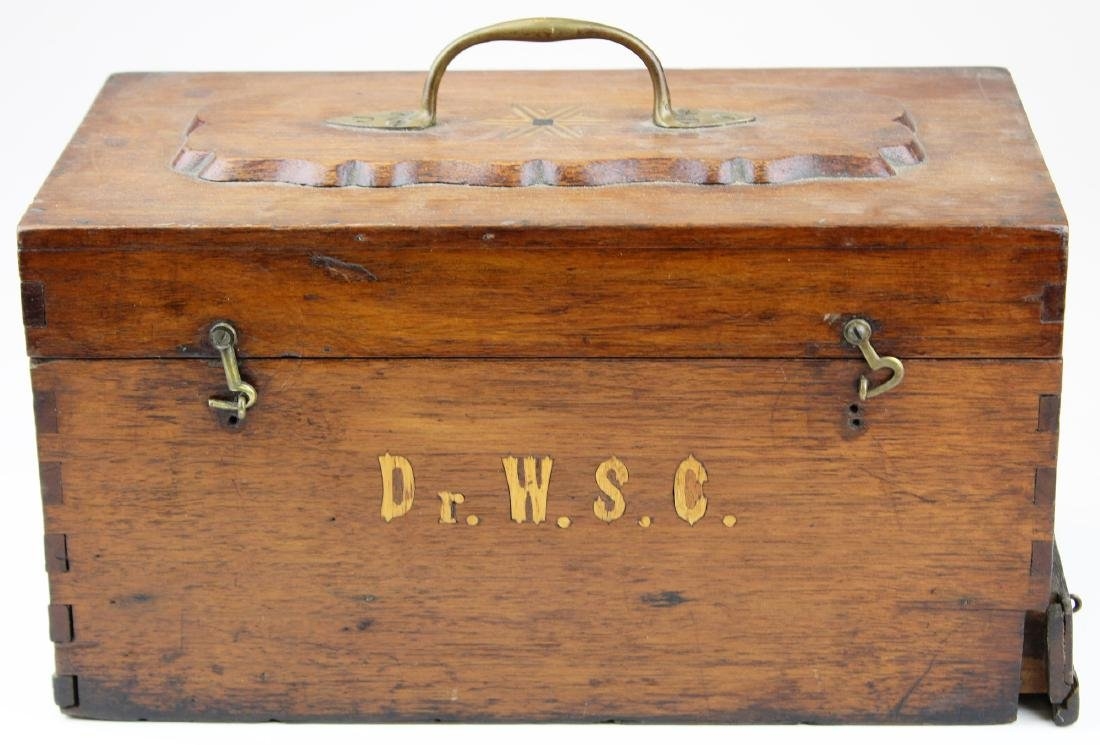 Victorian walnut inlaid doctor's box.