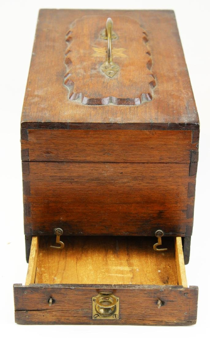 Victorian walnut inlaid doctor's box. - 4