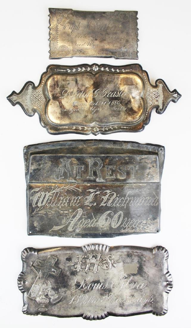 A group of 4 Victorian era silver plate coffin plates