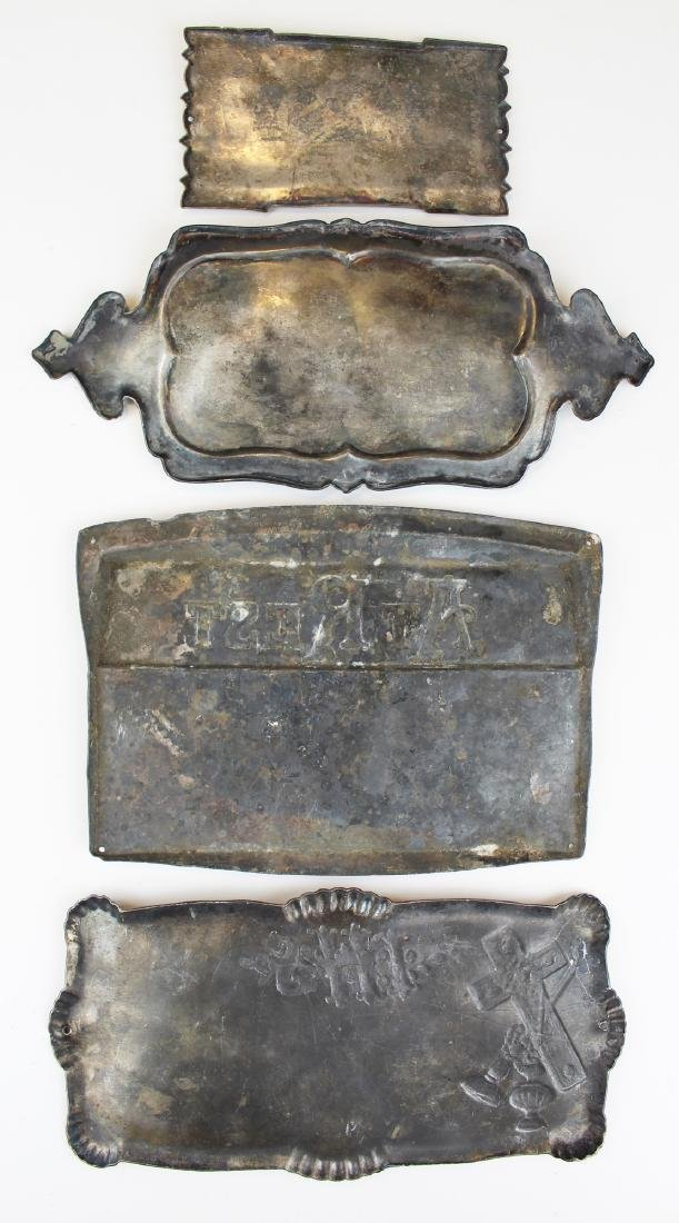 A group of 4 Victorian era silver plate coffin plates - 6