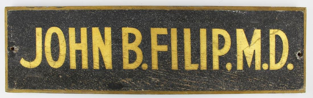 19th c sanded & gilt doctor's sign