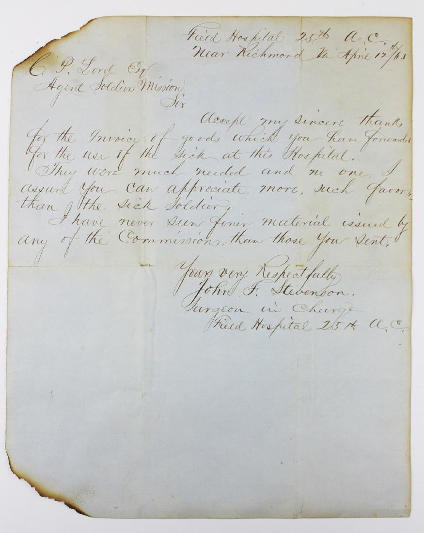 1865 Civil War era Richmond VA field hospital letter