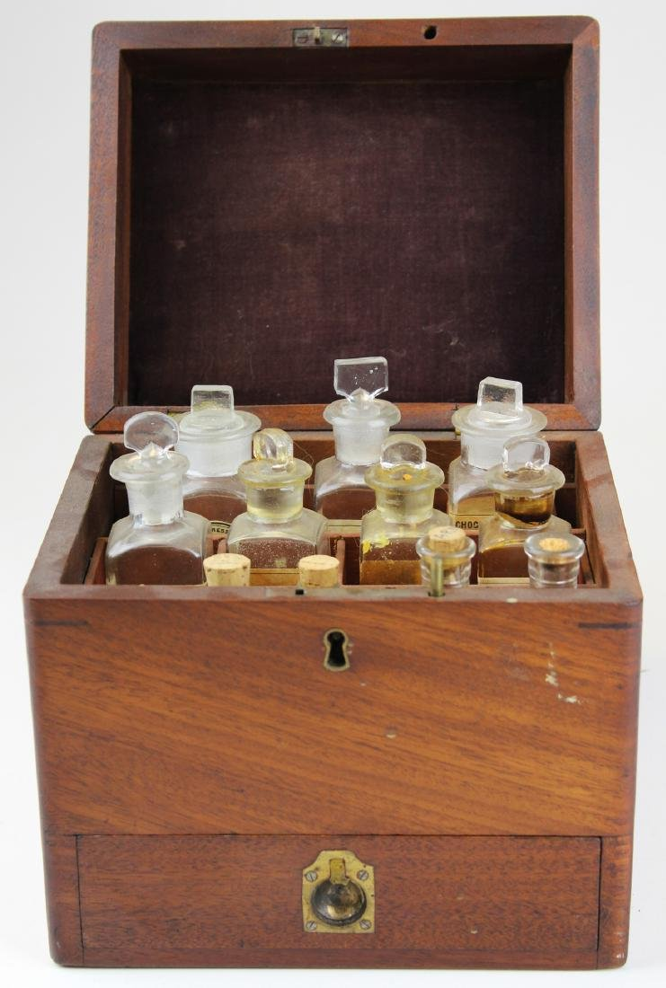 19th c walnut Pharmaceutical drug case