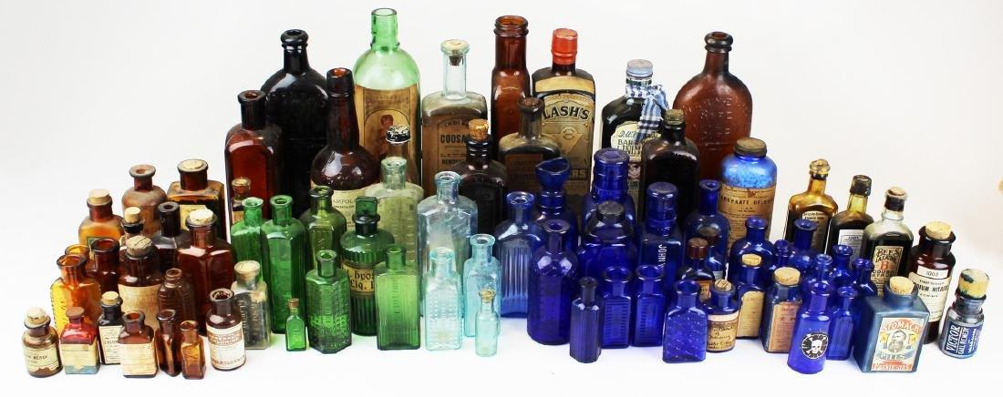 75 Colored glass medicine bottles