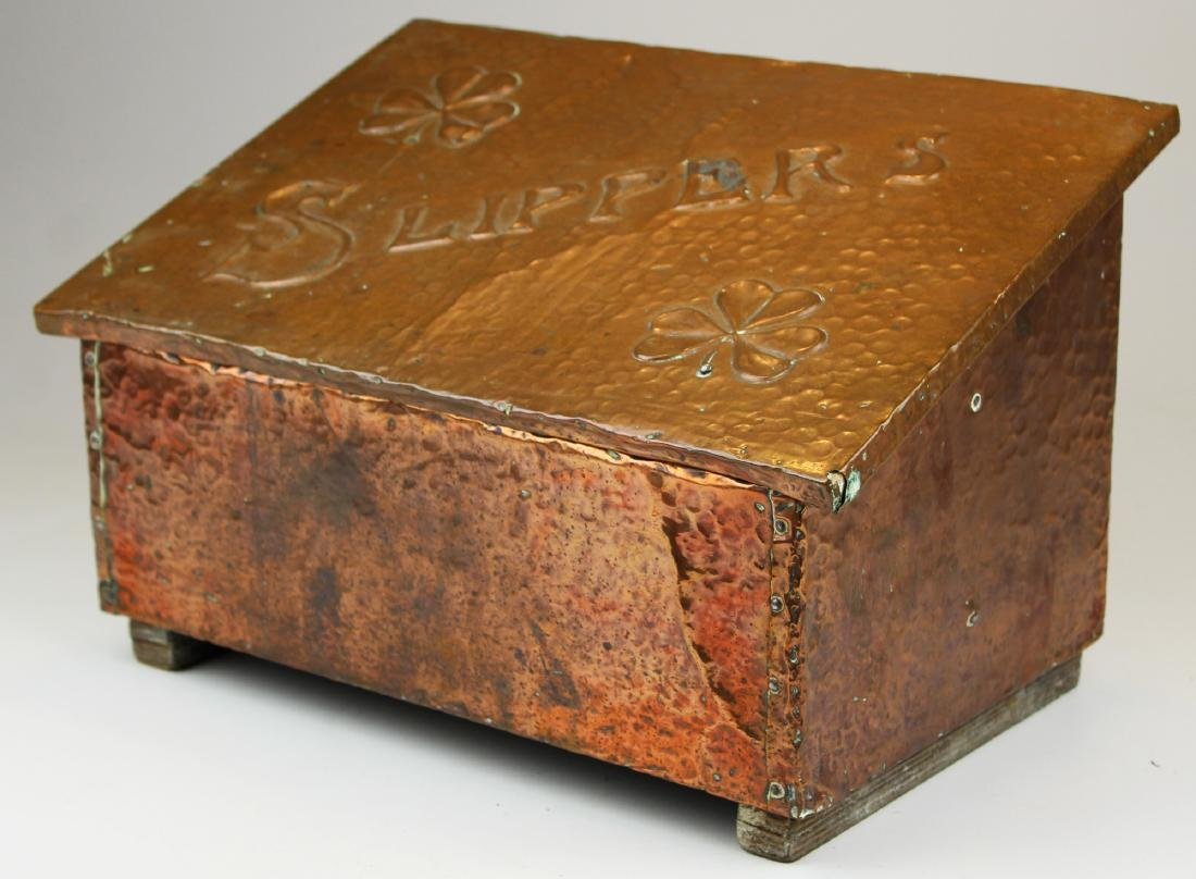 early 20th c hammered copper slipper box