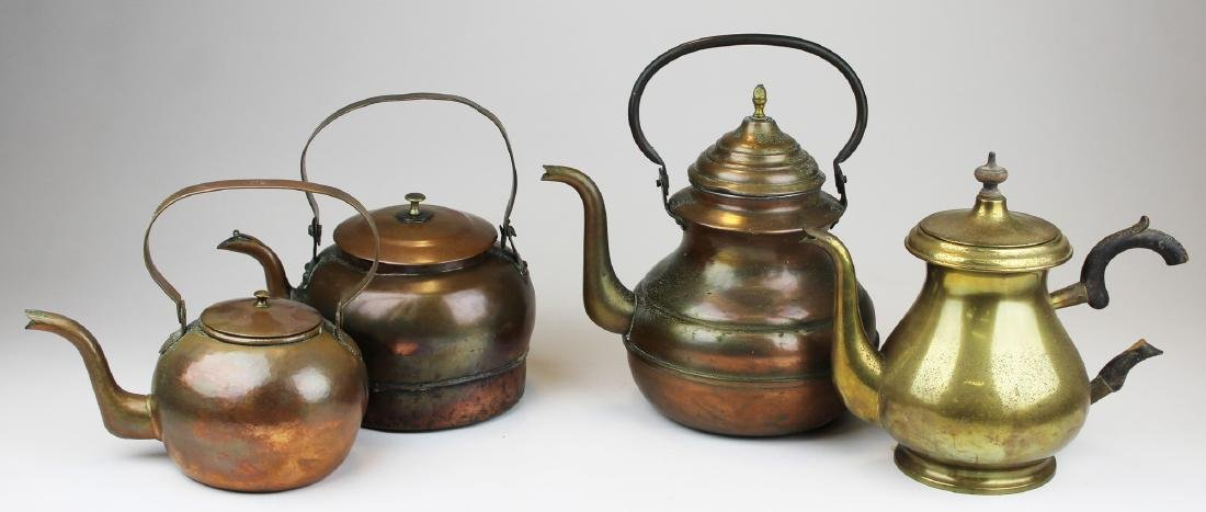 four brass & copper tea kettles