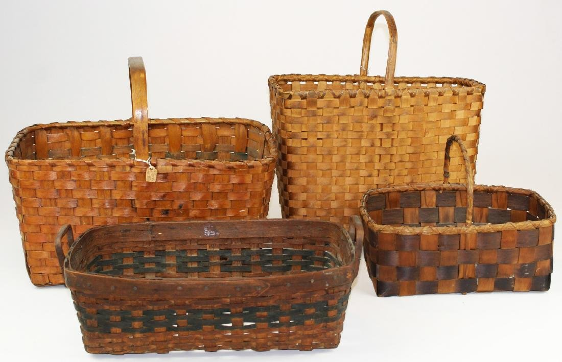 four early 20th c woodsplint baskets