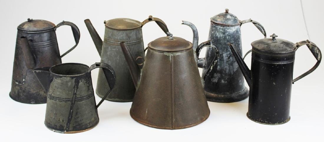 late 19th c tin tea pots & pitcher