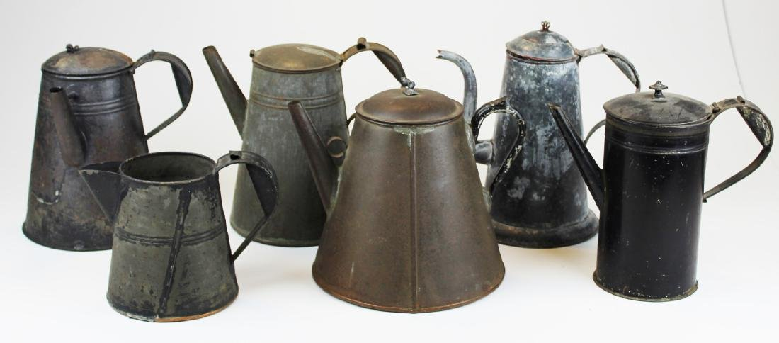 late 19th c tin tea pots & pitcher