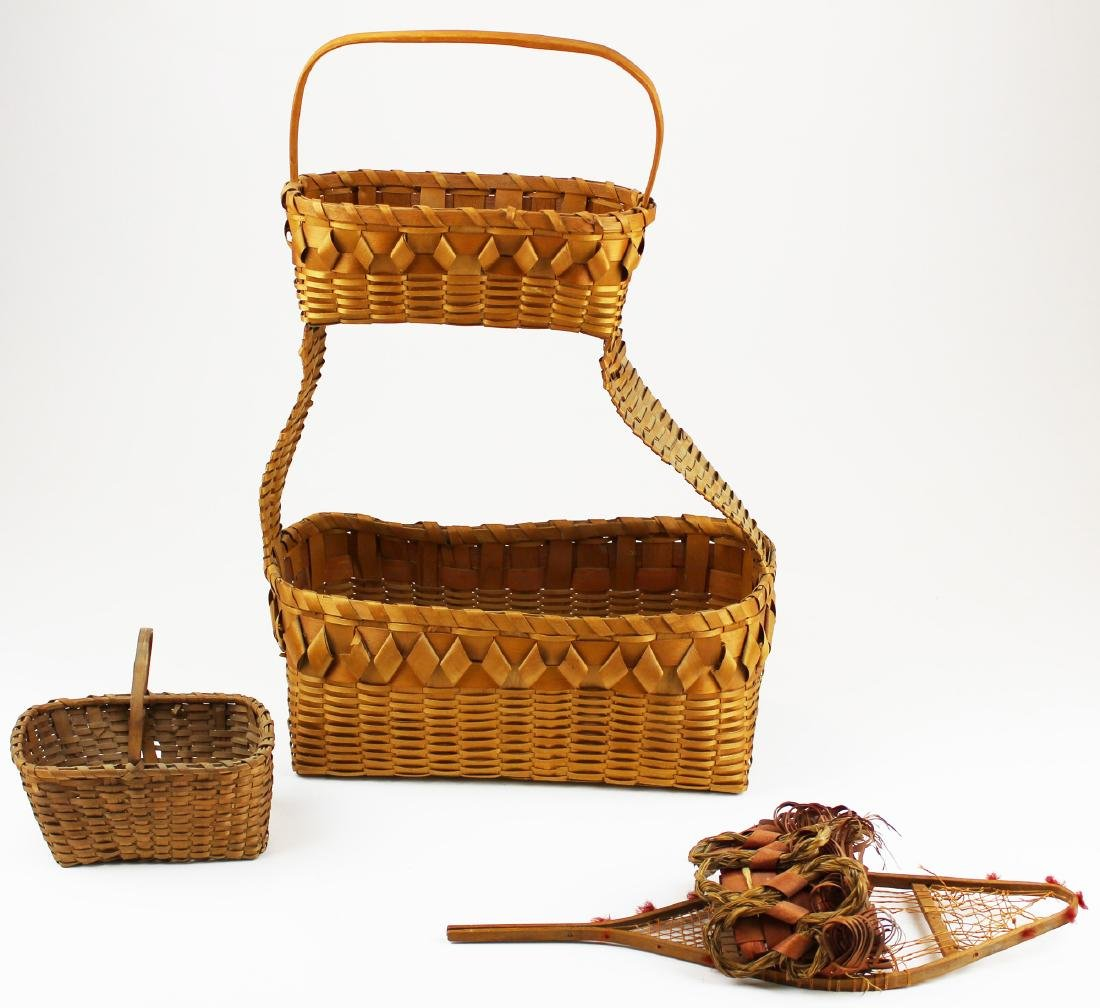 three early 20th c NE Woodlands baskets