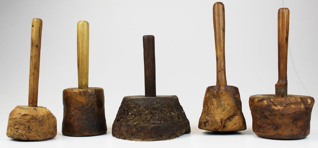 five late 18th- early 19th c burl mauls - 2