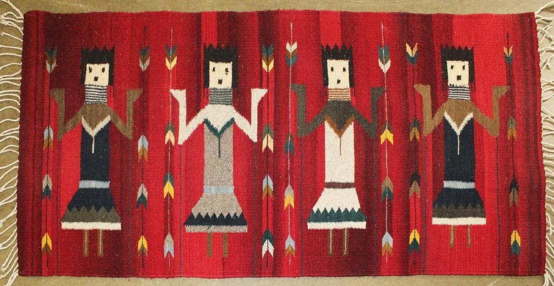 mid 20th c Navajo Yei figure blanket