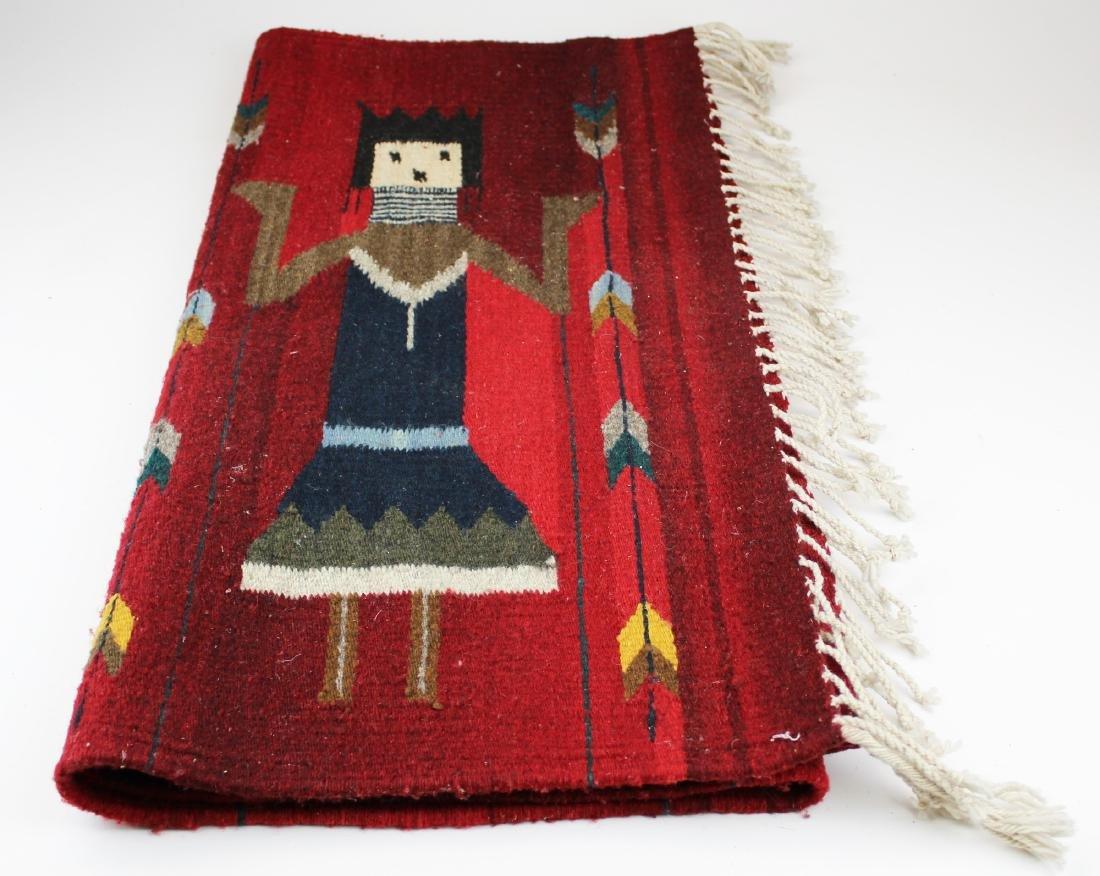 mid 20th c Navajo Yei figure blanket - 4