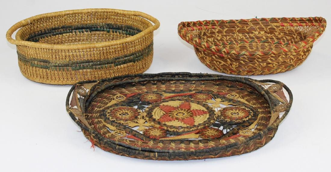 20th c Native American pine needle baskets
