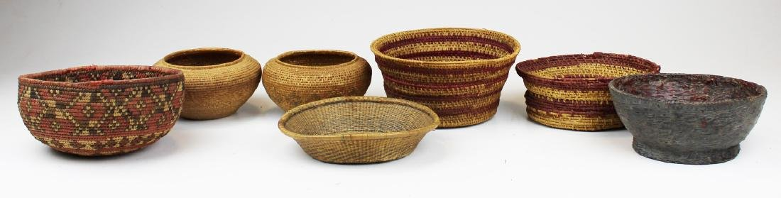 seven 20th c ethnographic baskets