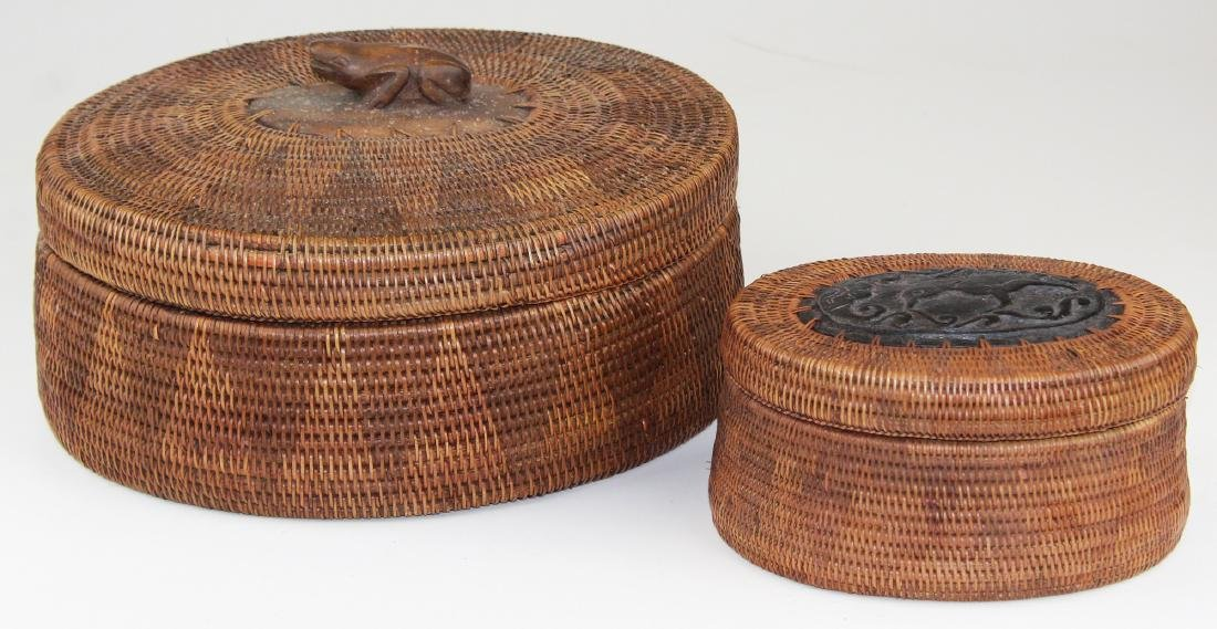 20th c African oval baskets w/ wood carving